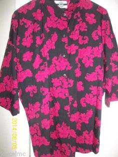 Casual-Blouse-Short-Sleeves-Sz-14-Pink-Black-Cotton-Blend-Best-Blouse-Co