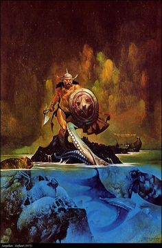 Fantasy artist Sanjulian (Manuel Pérez Clemente) painting. Worked on Warren, Heavy Metal & paperback covers. A few of the Conan paperbacks he did also contained illustrated interiors...: