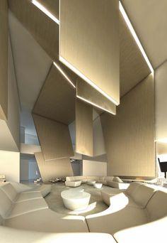 Concrete house in by the architecture studio of A-cero, directe. Amazing Architecture, Interior Architecture, Interior And Exterior, Contemporary Architecture, Modern Interior Design, Interior Design Inspiration, Plafond Design, Futuristic Interior, Lobby Design