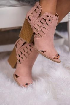These Gorgeous Cut Out Booties are Sure to Have You Blushing  Add a little girly touch to any look with these adorable blush booties. Featuring endless cut out