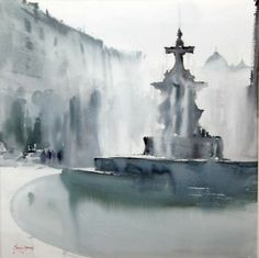 Battles Fountain Painting by Manolo Jimenez Watercolor Water, Watercolor Artwork, Watercolor Artists, Watercolor Landscape, Artist Painting, Landscape Paintings, Watercolor Architecture, Urban Landscape, Painting Techniques