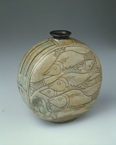 Flask with Fish, Joseon dynasty (1392–1910), 15th century | Buncheong ware; stoneware with underglaze carved decoration