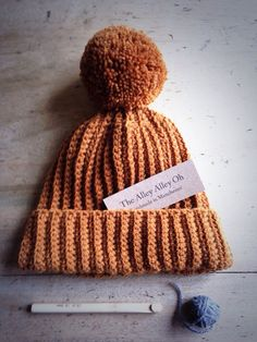 Butterscotch Soft Ribbed Handmade Crochet Bobble Hat by TheManchesterBee on Etsy