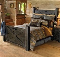 Distressed Barn Door Bed Frame LOVE this! The bed frame is amazing! Rustic Bedroom Furniture, Rustic Bedding, Bedroom Rustic, Western Furniture, Reclaimed Furniture, Bed Furniture, Distressed Furniture, Modern Bedding, Furniture Design