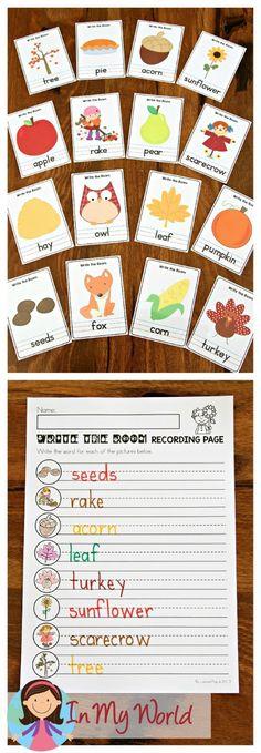 Autumn Literacy Centers for Kindergarten - In My World