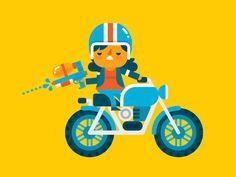 Biker Girl #illustration #flat
