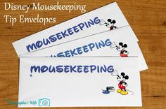 Disney Mousekeeping tip envelopes - make them yourself for some extra Disney magic!