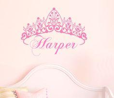 Nursery Girl Crown Wall Decal Name Custom Baby Toddler Vinyl Bedroom Decor via Etsy