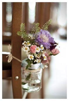 Jam jar pew ends Jam Jar Flowers, Table Flowers, Diy Flowers, Flower Decorations, Wedding Flowers, Diy Wedding, Wedding Ideas, Wedding Stuff, Wedding Inspiration