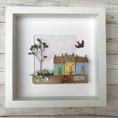 Driftwood Art Spring Picture of Little Wooden Houses Reclaimed Wood Wall Art Spring Decor Wedding Gift Four Seasons Mum Gift for her