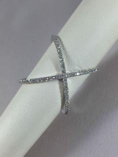 Criss Cross Ring. 14k White Gold .50 carats of Natural Diamond, Sizable Handmade #Handmade #CrissCrossBand