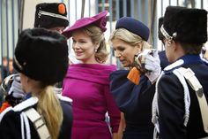 Nov 8, 2013 ~ Queen Mathilde in the Netherlands, visiting the King & Queen Maxima