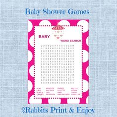 #Baby #Word #Search #Game-Girl Baby Shower-Printable by 2RabbitsPrintEnjoy