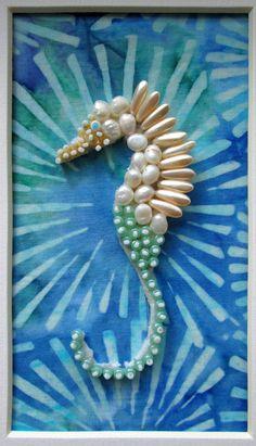 Bead embroidered seahorse by Eleanor Pigman.  Eleanorpigman.blogspot.com
