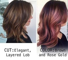 Hair cut & color wish list : Layered Lob, Rose Gold and Brown