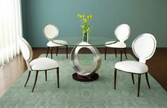 glass round dinning table