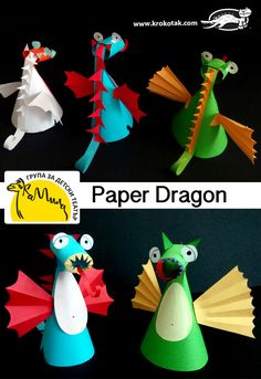 children activities, more than 2000 coloring pages New Year's Crafts, Paper Crafts For Kids, Diy For Kids, Paper Dragon Craft, Dragon Crafts, Dragon Kid, Dragon Party, Kids Workshop, Camping Crafts