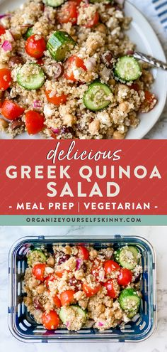 """Looking for a """"go to"""" summer salad? This Greek Quinoa Salad is absolutely delicious, so easy to make, and packed with lots of wholesome goodness. It's one of those salads that you can make on Sunday and then eat it all week because it gets better with each day. Organize Yourself Skinny Healthy Meal Prep Recipes Quick Healthy Lunch, Healthy Freezer Meals, Healthy Eating Habits, Healthy Meal Prep, Healthy Salad Recipes, Lunch Recipes, Healthy Eats, Healthy Foods, Greek Quinoa Salad"""