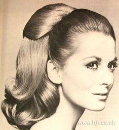 Vintage Hairstyles 1968 Blonde Ponytail - Blonde was pulled into a high ponytail and hair pieces added for wave and bounce. 1950s Hairstyles, Celebrity Hairstyles, Ponytail Hairstyles, Vintage Hairstyles, Cool Hairstyles, Updo Hairstyle, Updos, Wedding Hairstyles, Thick Hair Styles Medium