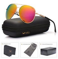 5e81b864005d1 LUENX Aviator Sunglasses for Women Men Polarized Mirrored Dark Rose Red  Lens Gold Metal Frame Large