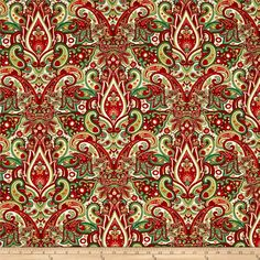 Winter Garden Metallic Paisley Damask Cream from @fabricdotcom  Designed by Color Principle for Henry Glass and Company. This cotton print assortment is perfect for traditional christmas quilting and home decor accents. Colors include red, green, cream, and metallic gold.