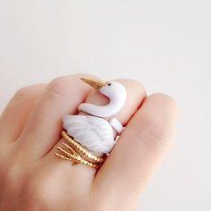 Daintyme Emaille Kran Ring Set l Vogel Ring l von DAINTYmeBOUTIQUE