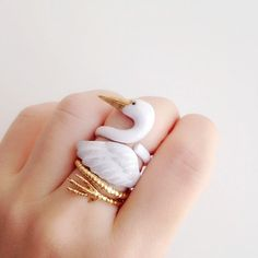 daintyme Enamel Crane Ring Set l Bird Ring l Animal Ring