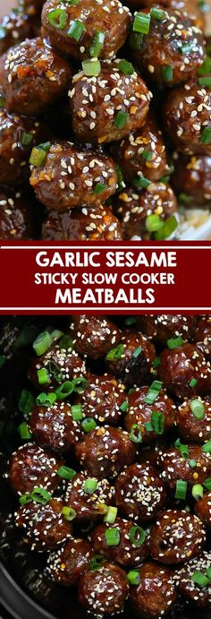 Garlic Sesame Meatballs - Slow cooker beef meatballs with an Asian Garlic Sesame Sauce. Perfect served with rice or served as a party appetizer. #meatballs #slowcooker #chinesefood