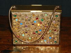Vintage Vanity Compact Purse Cigarette Case Minaudiere Colored Rhinestones