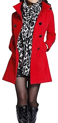 Women's Plus Size Warm Wool Tranch Coat Trendy Jacket C31, Red Long Large