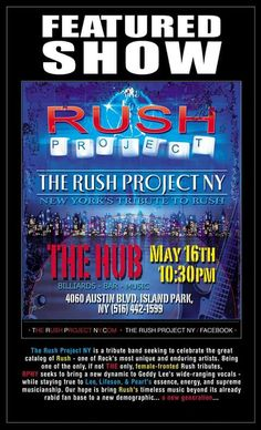 The Rush Project NY  Best Ruah Tribute Band May 16 @ 10:30