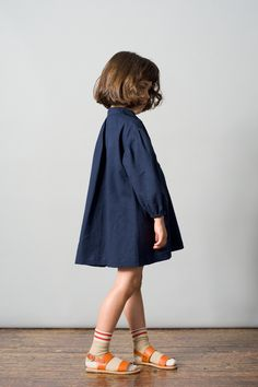 Palau Dress, Navy / Sport Socks, Warm Sand. Caramel Baby & Child. www.caramel-shop.co.uk.