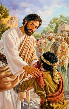 Jesucristo toca con compasión a un leproso y lo cura