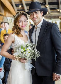 With a Country Wedding, a simple and lovely dress with petite florals can do the trick. Check out our Gallery of Gowns and pin the wedding dress of your dreams! Then make a date every Saturday night with Hallmark Channel. #JuneWeddings #HallmarkChannel(A Country Wedding starring Autumn Reeser and Jesse Metcalfe)