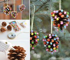 Pom Poms and Pinecones Christmas Ornaments