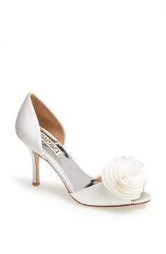 Free shipping and returns on Badgley Mischka 'Thora' Pump at Nordstrom.com. A floral accent softens an elegant satin pump in an airy peep-toe silhouette.