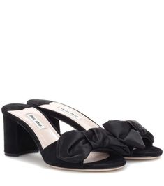 Black suede and satin sandals