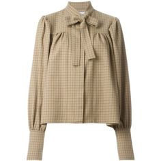 J.W. Anderson Gathered Blouse With Neck Tie (12 630 UAH) ❤ liked on Polyvore featuring tops, blouses, shirred top, ruching tops, ruched top, brown blouse and neck-tie