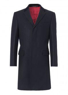 Navy Retro Coat, Classic Fit - Mens - Coats - Crombie
