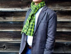 Men's Flannel Scarf in Green Plaid cotton scarf by LaurenPerkin