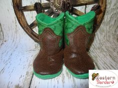 Western Baby Soft Cowboy Boots.   Designed and created by Western Border. We have copyrighted our pattern and we just tickled pink that we can design any color/kind of boot for your little buckaroo. www.western-border.com Price $28.00