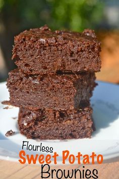 Flourless Sweet Potato Brownies. Sweetened with Agave Nectar.