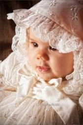 Full, Feminine and Floaty Ivory Nottingham Lace Christening Gown with matching lace Bonnet included in the price. The photos on this site are of the ivory version of this gown Lace Christening Gowns, Christening Outfit, Nottingham Lace, Lace Making, Little Darlings, Flower Girl Dresses, Feminine, Wedding Dresses, Babys
