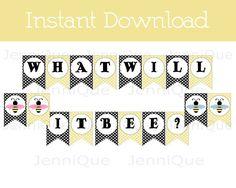 Printable What Will It Bee Banner Gender By JenniQuePrintShop