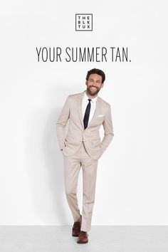 Wedding Suit Lighten up in the perfect tan suit from The Black Tux. Rent it online from The Black Tux, and get free delivery a full 14 days before your event—plus, free returns and replacements. Brown Suits, Black Tux, Wedding Suits, Wedding Men, Wedding Decor, Summer Suits, Dapper Men, Perfect Wedding Dress, Suit And Tie