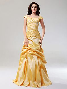 TS Couture® Prom / Formal Evening Dress - Elegant Plus Size / Petite A-line / Princess Off-the-shoulder Floor-length Taffeta with Draping / Pick Up