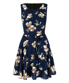 Love this Navy & Taupe Floral Fit & Flare Dress by Iska London on #zulily! #zulilyfinds