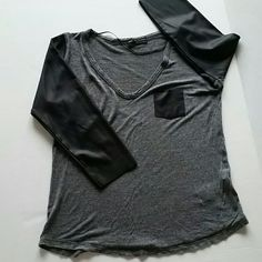 ZARA W&B COLLECTION top faux leather Knit v neck with faux leather 3/4 sleeves & patch pocket. Heather gray and black. Zara Tops