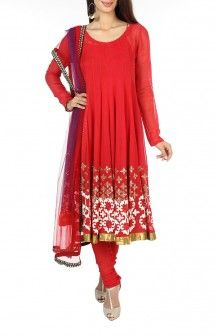 Red Georgette Salwar By Krishna Mehta Rs. 32700