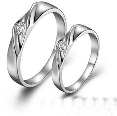 Custom Engravable Certified 925 Sterling Silver Crystal Diamond Couple Rings Gift [GTM01034] - $49.00